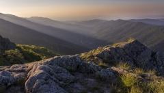 Lever de soleil sur les monts d'Ardèche , Ardèche